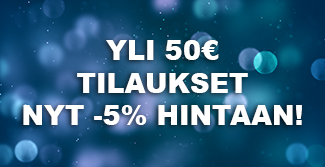 Nyt kaikki yli 50€ tilaukset -5% ALE-HINTAAN. Alennus lasketaan automaattisesti. Tilaa heti!