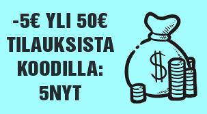 Nyt tarjoamme -5€ kaikista yli 50€ tilauksista koodilla: 5NYT. Tilaa teetä ja hyödynnä etusi!