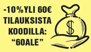 """Yli 60€ tilaukset nyt -10% tarjoushintaan. Hyödynnä tarjous koodilla: """"60ALE""""!"""