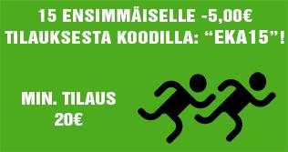 """15 ensimmäiselle tilaajalle -5€ yli 20€ tilauksesta koodilla: """"EKA15""""! Ole nopea ja tilaa heti!"""