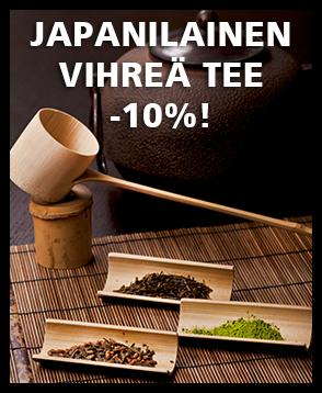 Kaikki valikoiman japanilaiset vihreät teelaadut nyt -10% tarjoushintaan. Tutustu valikoimaan ja tilaa!