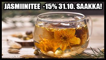 kaikki jasmiinitee -15% tarjoushintaan 31.10. saakka!