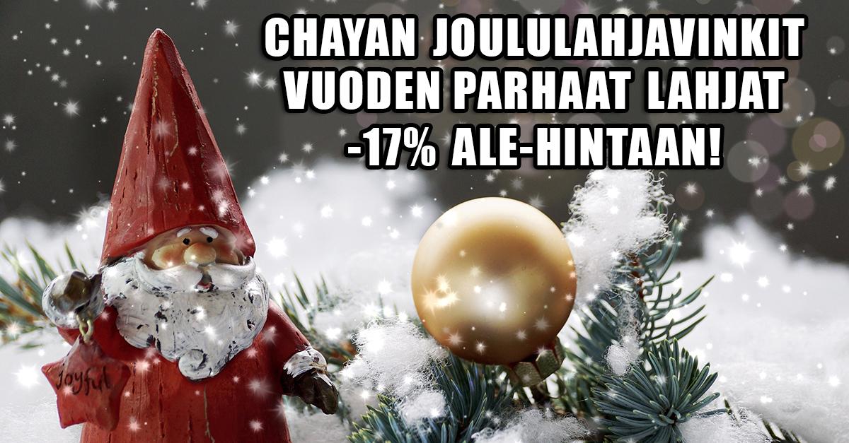 chayan teeaiheiset joululahjavinkit ovat tämän vuoden hitti! Nyt tarjoamme joulun parhaat lahjat -17% Ale-hintaan!