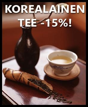 Kaikki korealaiset vihreät teet nyt -15% ALE-hintaan! Maista yhtä teemaailman nopeimmiten kasvavista trendeistä!