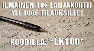 """Yli 100€ tilauksiin ilmainen 10€ lahjakortti koodilla: """"LK100""""! Hyödynnä tarjous heti!"""