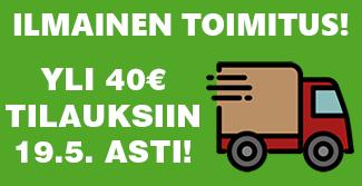 Kevät-ALE: Ilmainen toimitus yil 40€ tilauksille 19.5. asti! Tilaa heti!
