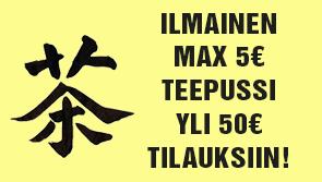 Yli 50€ tilauksiin nyt yksi max. 5€ arvoinen teepussi ILMAISEKSI mukaan. Lisää tuote ostoskoriin, alennus lasketaan automaattisesti. Tilaa heti!